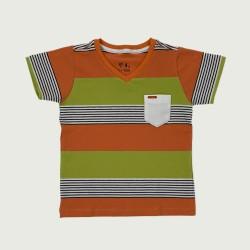 Camiseta Gola V em Listras